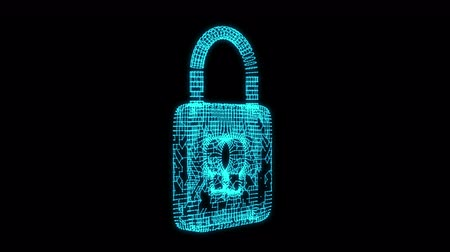 cadeado : Padlock cyber security concept Stock Footage