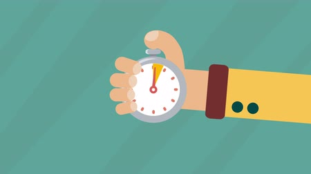 punctuality : Man holds in his hand sports stopwatch. Time management concept. Motion animation in flat graphics style. Available in 4K FullHD video render footage