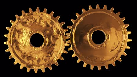mevcut : Gold Gears. Mechanical technology machine engineering symbol. Industry development, engine work, business solution concept. Available in FullHD and HD video.