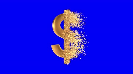 disintegration : Fractured Gold Dollar value 3d model with disappearing effect. Financial crisis concept. Available in FullHD and HD video.