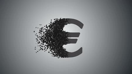 disintegration : Fractured Euro value 3d model with disappearing effect. Financial crisis concept. Available in FullHD and HD video. Stock Footage