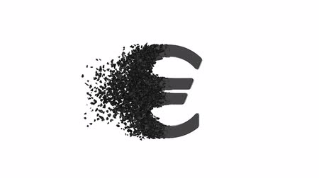 sparire : Fractured Euro value 3d model with disappearing effect. Financial crisis concept. Available in FullHD and HD video. Filmati Stock