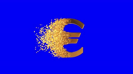para birimleri : Fractured Euro value 3d model with disappearing effect. Financial crisis concept. Available in FullHD and HD video. Stok Video