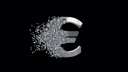 kryzys : Fractured Euro value 3d model with disappearing effect. Financial crisis concept. Available in FullHD and HD video. Wideo