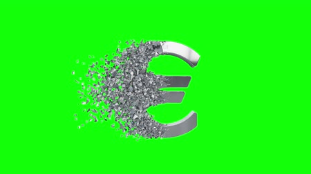 dissolução : Fractured Euro value 3d model with disappearing effect. Financial crisis concept. Available in FullHD and HD video. Stock Footage