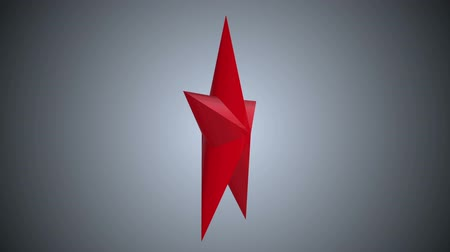 escovado : Red 3d star rotate. 3D render footage in Full HD. Gradient background