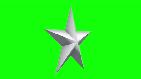 escovado : White 3d star rotate. 3D render footage in Full HD. Chroma key green screen. Vídeos