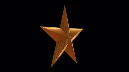 escovado : Golden star rotate. 3D render footage in Full HD. Black background