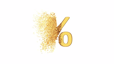 金曜日 : Fractured Gold Percentage Sign 3d model with disappearing effect. Discount concept. Available in FullHD and HD video.