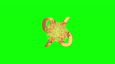 desconto : Fractured Gold Percentage Sign 3d model with disappearing effect. Discount concept. Available in FullHD and HD video.