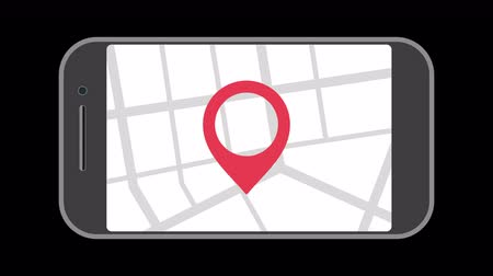 navigáció : Geo Pin Tag on smartphone display. Nobile phone with map on screen. GPS, Destination Map Navigation Location Road Direction and pointer marker icon concept. Available in 4K FullHD and HD video footage Stock mozgókép