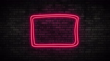 duyuru : Neon Frame Light on Brick Wall. Night Club Bar Blinking Neon Sign. Motion Animation. Video available in 4K FullHD and HD render footage