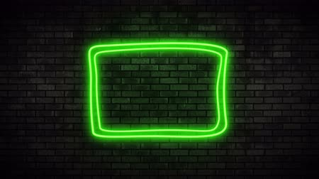 мерцание : Neon Frame Light on Brick Wall. Night Club Bar Blinking Neon Sign. Motion Animation. Video available in 4K FullHD and HD render footage