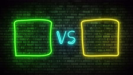 pojedynek : Versus screen in neon style. Blinking futuristic neon VS frames light on brick wall. Neon banner Announcement of two fighters. Competition vs match game, martial battle vs sport. 4k Motion Animation. Wideo