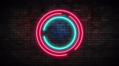 cegła : Neon Circle Frame Light on Brick Wall. Night Club Bar Blinking Neon Sign. Motion Animation. Video available in 4K FullHD and HD render footage