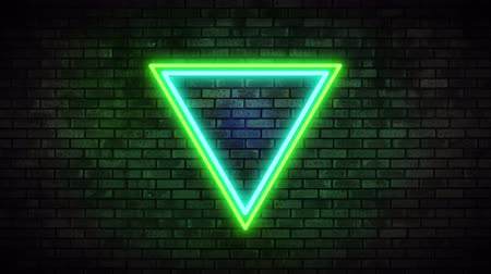треугольник : Neon Frame Light on Brick Wall. Night Club Bar Blinking Neon Sign. Motion Animation. Video available in 4K FullHD and HD render footage