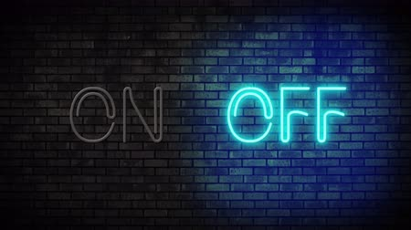 zeď : Neon On and Off Switch Light on Brick Wall. Night Club Bar Blinking Neon Sign. Motion Animation. Video available in 4K FullHD and HD render footage