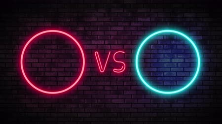 duyuru : Versus screen in neon style. Blinking futuristic neon VS frames light on brick wall. Neon banner Announcement of two fighters. Competition vs match game, martial battle vs sport. 4k Motion Animation. Stok Video
