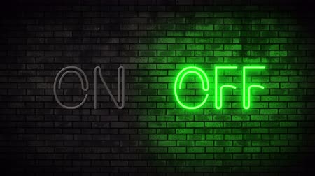 неон : Neon On and Off Switch Light on Brick Wall. Night Club Bar Blinking Neon Sign. Motion Animation. Video available in 4K FullHD and HD render footage