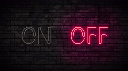 duyuru : Neon On and Off Switch Light on Brick Wall. Night Club Bar Blinking Neon Sign. Motion Animation. Video available in 4K FullHD and HD render footage