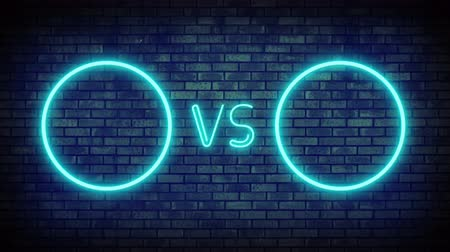 derrota : Versus screen in neon style. Blinking futuristic neon VS frames light on brick wall. Neon banner Announcement of two fighters. Competition vs match game, martial battle vs sport. 4k Motion Animation. Vídeos