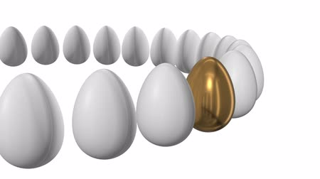 oportunidade : Golden egg in a row of the white eggs. 3D render. Easter, out of crowd, business concept. Video available in FullHD and HD render footage