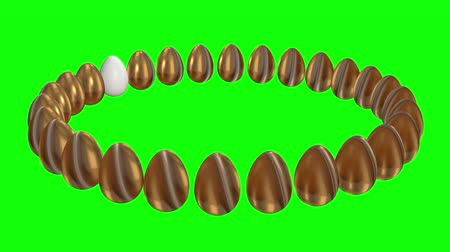 příležitost : White egg in a row of the golden eggs. 3D render. Easter, out of crowd, business concept. Video available in FullHD and HD render footage