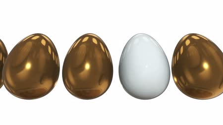 контрасты : White egg in a row of the golden eggs. 3D render. Easter, out of crowd, business concept. Video available in FullHD and HD render footage