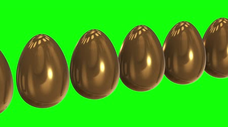 contrastes : White egg in a row of the golden eggs. 3D render. Easter, out of crowd, business concept. Video available in FullHD and HD render footage