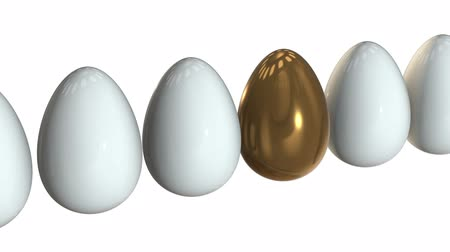 контрасты : Golden egg in a row of the white eggs. 3D render. Easter, out of crowd, business concept. Video available in FullHD and HD render footage