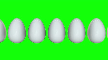 diferença : Golden egg in a row of the white eggs. 3D render. Easter, out of crowd, business concept. Video available in FullHD and HD render footage