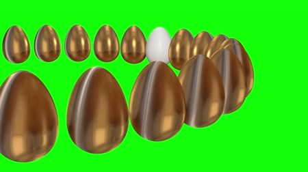 szelektív összpontosít : White egg in a row of the golden eggs. 3D render. Easter, out of crowd, business concept. Video available in FullHD and HD render footage