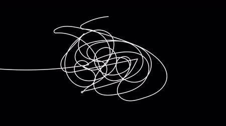 desenhada à mão : Hand drawn tangle scrawl sketch or black line spherical abstract scribble shape. Tangled chaotic doodle circle drawing circles or thread clew knot. 4K FullHD and HD render footage animation