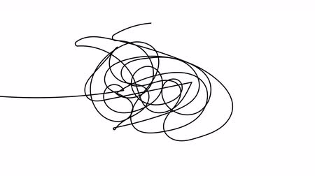 emaranhado : Hand drawn tangle scrawl sketch or black line spherical abstract scribble shape. Tangled chaotic doodle circle drawing circles or thread clew knot. 4K FullHD and HD render footage animation