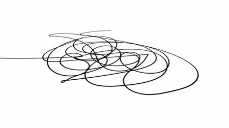 změť : Hand drawn tangle scrawl sketch or black line spherical abstract scribble shape. Tangled chaotic doodle circle drawing circles or thread clew knot. 4K FullHD and HD render footage animation