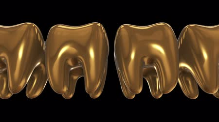 dent : White tooth in a row of the gold teeth. 3D render. Dental, out of crowd, business concept. Video available in FullHD and HD render footage Stock Footage