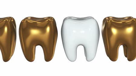 raiz : White tooth in a row of the gold teeth. 3D render. Dental, out of crowd, business concept. Video available in FullHD and HD render footage Vídeos