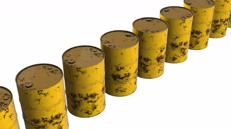 fosilní : Old rust metal barrel oil row. 3d render Video available in 4k FullHD and HD render footage