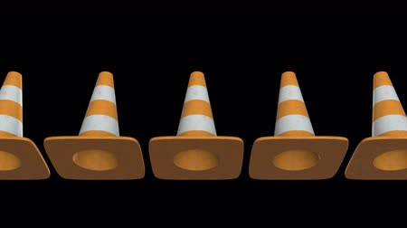 barriers : Traffic cone. Orange road sign with white stripes 3d render video available in 4k FullHD and HD render footage. Under construction concept.