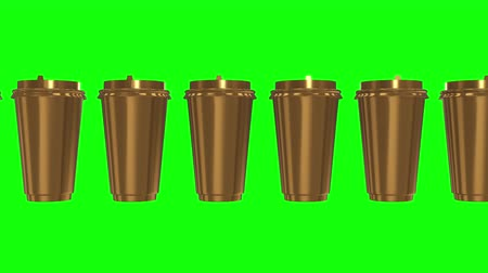 lids : Disposable coffee cups. Row of gold mug with cap. 3d render Video available in 4k FullHD and HD render footage