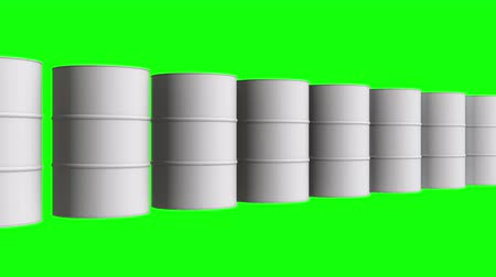 galão : White blank metal barrel oil row. 3d render Video available in 4k FullHD and HD render footage