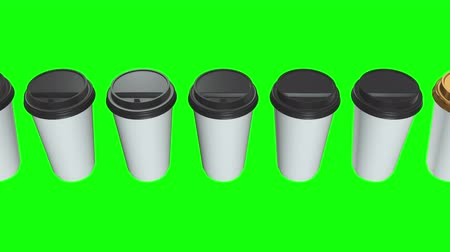 lids : Disposable coffee cups. Row of Blank paper mug with plastic cap. 3d render Video available in 4k FullHD and HD render footage