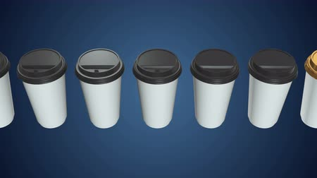 латте : Disposable coffee cups. Row of Blank paper mug with plastic cap. 3d render Video available in 4k FullHD and HD render footage