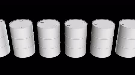blank can : White blank metal barrel oil row. 3d render Video available in 4k FullHD and HD render footage