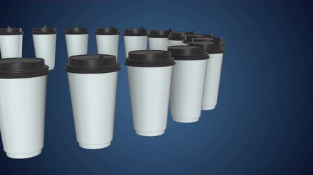 white out : Disposable coffee cups. Row of Blank paper mug with plastic cap. 3d render Video available in 4k FullHD and HD render footage