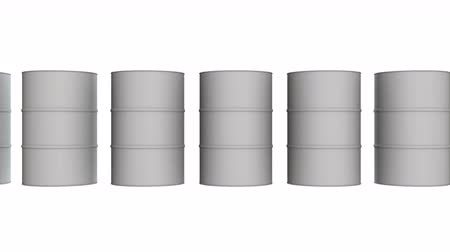 White blank metal barrel oil row. 3d render Video available in 4k FullHD and HD render footage