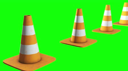 Traffic cone. Orange road sign with white stripes 3d render video available in 4k FullHD and HD render footage. Under construction concept.