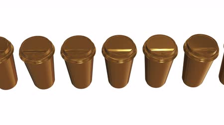 Disposable coffee cups. Row of gold mug with cap. 3d render Video available in 4k FullHD and HD render footage