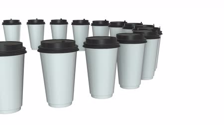 Disposable coffee cups. Row of Blank paper mug with plastic cap. 3d render Video available in 4k FullHD and HD render footage