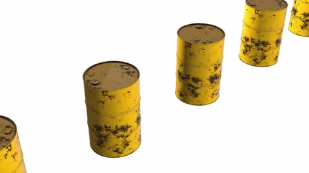 refuge crisis : Old rust metal barrel oil row. 3d render Video available in 4k FullHD and HD render footage